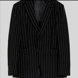 NWT MEN ZARA SUIT STRIPE BLACK AND WHITE SIZE 48
